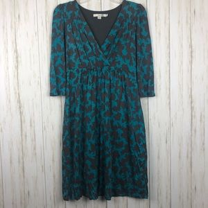 Boden Silk Blend Leaf Print Midi Dress 6P